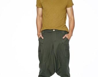 NO.95 Olive Cotton Jersey Casual Harem Pants Unique Pockets Drop-Crotch Trousers, Unisex Pants