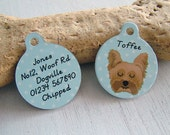 Pet ID Tag Personalised Dog Identity Tag- SMALL 25mm Name Tag for Dogs