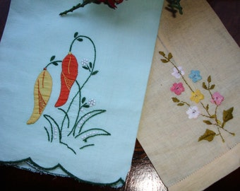 Towels, Guest Towels, Tea Towels, Lot of towels, shabby chic, country chic, embroidered, Mixed lot, Country decor Lot of two, Two towels