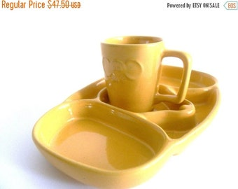 Half Price SALE Frankoma Pottery. Children's Mouse Plate and Cup. Whimsical