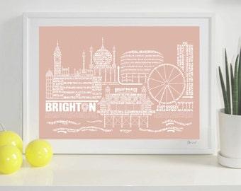 Brighton Skyline Typography Print