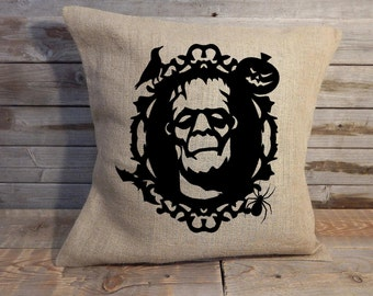 Frankenstein Halloween Burlap Pillow Cover