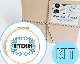 B*tchin' Modern Cross Stitch Kit - easy chart design guide great for beginners - floral naughty mature bad taste funny quote embroidery kit