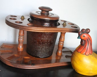 Large solid wood vintage Pipe Rack Holder and brown glass barrel humidor holds 8 Smoking Pipes