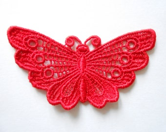 7 x 4 cm red lace Butterfly