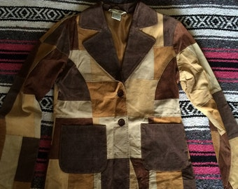Vintage Leather Patch Style Jacket