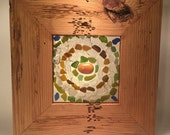Antique pine flooring frame, filled with natural sea glass and sea stones