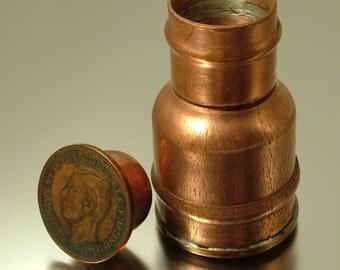Vintage/ estate, novelty copper 1938 British penny box - pill box / pot, trinket pill