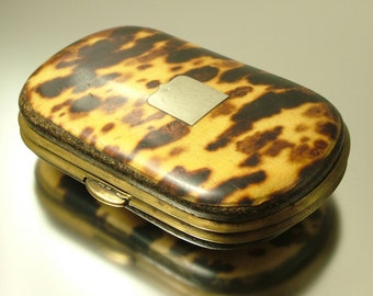 Antique/ estate/ vintage Victorian 1800s, miniature faux tortoise shell/ marine shell coin purse