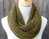 Olive Infinity Scarf - Green Infinity Scarf - Circle Scarf -  Ready to Ship