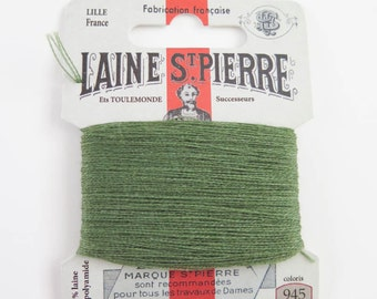 Laine St. Pierre French Wool Embroidery Floss for Hand Embroidery, Darning | Wool Embroidery Thread in SHETLAND GREEN (#945-A1)