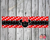 Minnie Mouse Polkadot Red White and Black Baby Shower Water Bottle Labels