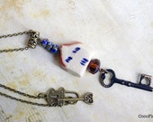 "Key necklace / miniature house pendant / cabin charm / ""home sweet home"" / cottage chic jewelry"