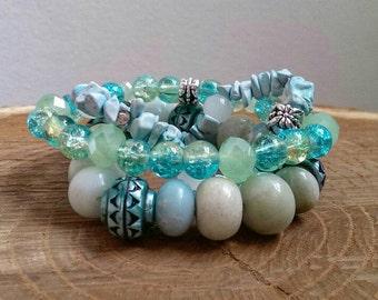 Amazonite Gemstone Bracelet Stack - Yoga Bracelet Stack - Gemstone Stretch Bracelet - Yoga Jewelry - Bracelet Stack - Amazonite Bracelet