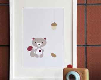 Nutty The Squirrel_A4 Print