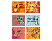 DIGITAL DOWNLOAD - Six (6) Pokemon Themed Chibi Valentines Day Valentine Cards, Custom Valentine Card, Pikachu, Charmander, Squirtle & more