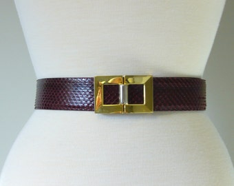 Vintage BORDEAUX SNAKESKIN BELT with Metal Buckle/size Small