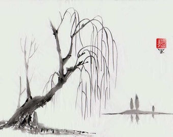 "Original Art ""Willow"" - Japanese sumi-e - asian painting - Wall decor - home decor - black and white - minimalist art - landscape"