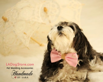 Pink Dog Bow Tie, Bow attached to dog collar, Pet Wedding accessory, Charm, Heart, Burlap, Pink, Polka dots, Dog collar, Dog Birthday gift