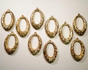 10 Brass Oval Earring Dangles Drops Findings