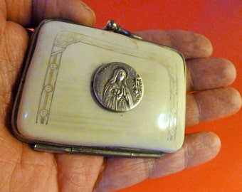 ANTIQUE French  women coin purse Bakelite Silver Religious medal Saint Teresa   1900