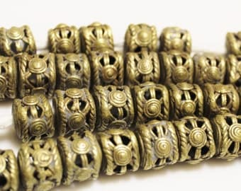 Ethnic Brass Spacer Beads made in Africa (8), Jewelry Supplies (Q91)