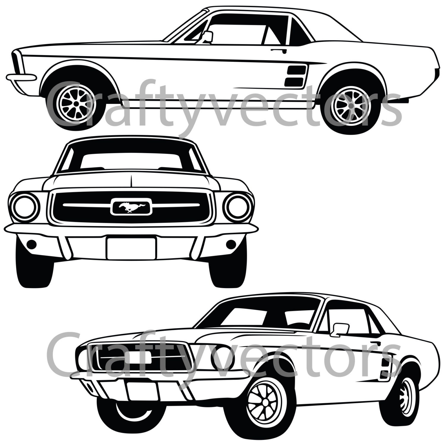 ford mustang 67 coupe vector file from craftyvectors on