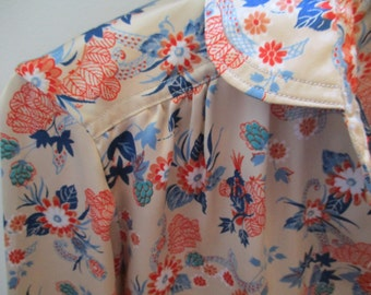 Floral Asian Chinoiserie blouse Peter Pan collar mandarin career wear USA