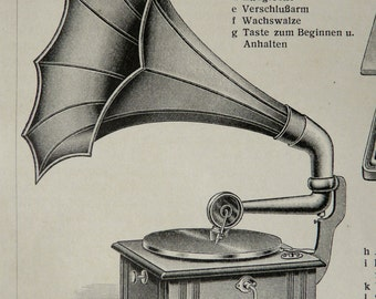 1900 Antique print of PHONOGRAPHS, different types. Gramophone. Phonograph. Record players. 116 years old print.