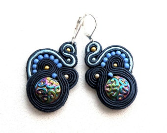Dark Ocean - Dangle soutache earrings