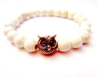 Rose Gold Owl Bracelet. Beaded Bracelet. Gemstone Bracelet. Stretch Bracelet. Owl Jewelry.