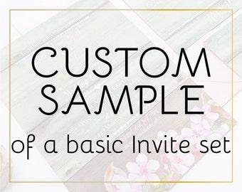 Custom sample of a basic wedding invitation set