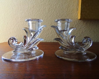"Fostoria Baroque 4"" Candle Holders"