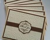 Thank You Card Set, Elegant Embossed Pattern, Brown and Cream, Choose Assembled Set, or as DIY card making kit