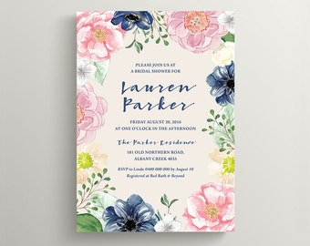 Printable Bridal Shower Invitation \ Wedding Shower \ Baby Shower Invite \ Rustic Floral Invite \ Navy and Pink Colours (BR195)