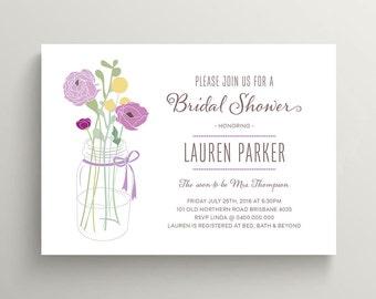Printable Bridal, Wedding Shower Invitation \ Purple and Yellow Flowers \ Mason Jar Invite (BR113)