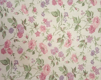 Pink, Lavender and Green Mini Floral Print.  Great for a quilt backing!