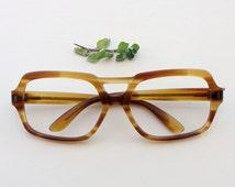 50's men's eyeglasses / vintage Sferoflex oversized frames /Geek Hipster nerd eye glasses / flat top eyewear made in Italy / tortoise frames