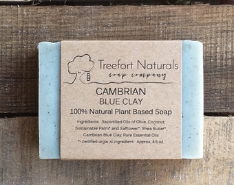 Cambrian Blue Clay Soap with Lavender, Mint & Tea Tree (lightly scented) - Handmade Cold Process, All Natural, vegan, essential oils