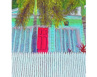 Key West Conch Cottage Red Door Palm Tree Picket Fence Glicee Print 8x10 11x14 16x20 Korpita