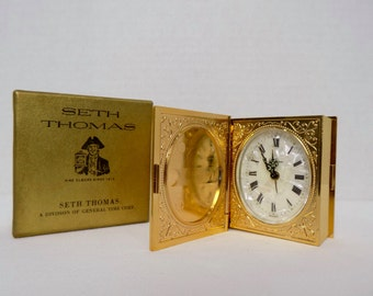 Vintage Mid Century Seth Thomas Gold Tone Brass Ornate Miniature Book Alarm Clock - Germany - Retro Office Desk Boudoir Travel Timepiece