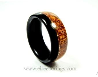Wood wedding ring Irish bog Oak and Mahogany wood