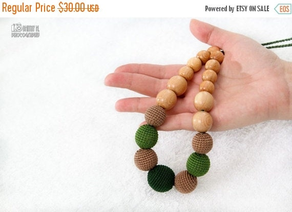25% off Nursing necklace/Teething crochet mom necklace - juniper wood natural jewelry - green, mocha - certified organic cotton.