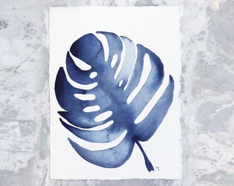 Indigo Leaves 1.6 Original Watercolor Painting, 8x10