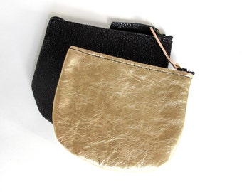 leather coin pouch metallic leather suede lined gold coin purse