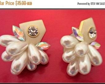 Pearl Rhinestone Earrings Hollywood glamour style clip on earrings