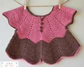 Pink and Brown Jacket, Girls Jacket, Baby Jacket, Jacket With Buttons, Crochet Jacket, Pink and Brown, 6-9 Months, Girl, Baby, Ripple Jacket