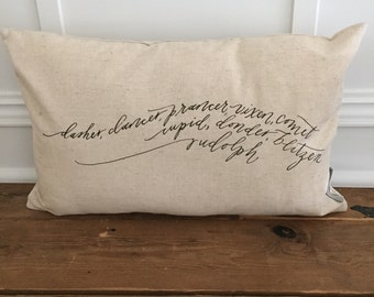 Reindeer names pillow cover