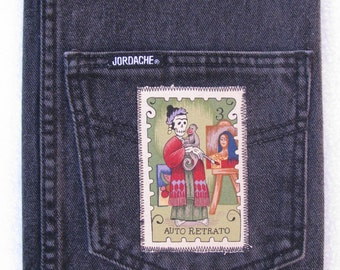 Frida  Day of the Dead Recycled Denim Composition Notebook Journal Cover