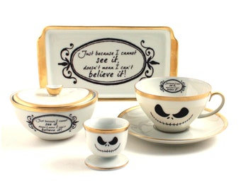 Nightmare Before Christmas Coffee Set Cup Eggcup Small Tray Sugar Pot Believe It Porcelain Tim Burton Musical Film White Brown Romantic